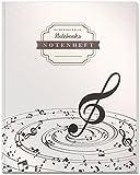 DÉKOKIND Notenheft   DIN A4, 64 Seiten, 12 Notensysteme pro Seite, Inhaltsverzeichnis, Vintage Softcover   Dickes Notenbuch   Motiv: Notenstrudel