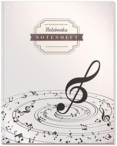 DÉKOKIND Notenheft | DIN A4, 64 Seiten, 12 Notensysteme pro Seite, Inhaltsverzeichnis, Vintage Softcover | Dickes Notenbuch | Motiv: Notenstrudel