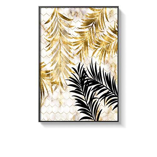 Pflanzen Golden Leaf Leinwand Malerei und Druck Wandkunst Bilder für Wohnzimmer Schlafzimmer Esszimmer Dekor 52x75cm