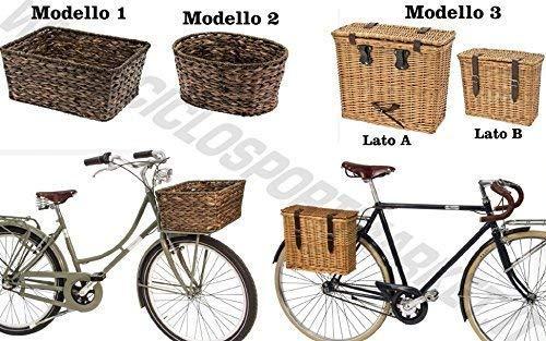 CicloSportMarket Cesto Cestino Vimini + Piastra Inclusa - Anteriore/Posteriore - Attacco portapacco/portacesto Bicicletta City Bike - Classica - Vintage - Epoca Uomo/Donna (Modello 2)