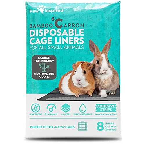 """Paw Inspired Disposable Guinea Pig Cage Liners   Bamboo Charcoal Odor Controlling   Super Absorbent Liners Pee Pads for Ferrets, Rabbits, Hamsters, and Small Animals (47"""" x 26"""" (Midwest), 8 Count)"""