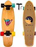 Cruiser Skateboard 27 inch (Muévelo)/ Beginner and Advanced Complete Skateboard Suited for Kids, Teens & Adults/ Boys & Girls Board/ Nickel Board for Sports and Outdoor Activity | Wood Maple |