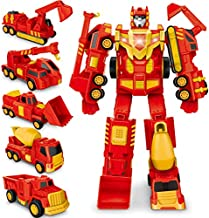 Construction Toy, Pull Back Play Vehicles for 3 4 5 6 Years Old Boy Kids Toddler, Transform Robot Car Toys Truck,Assemble Cars Action Figures Set