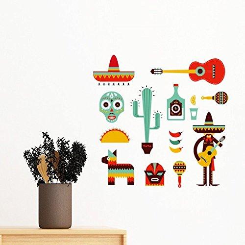 DIYthinker Sombrero Cactus Tequila Gitarre Chili Mexiko Kultur Elment entfernbarer Wand-Aufkleber-Kunst-Abziehbilder Wand-DIY Tapete Für Zimmer Aufkleb 40Cm