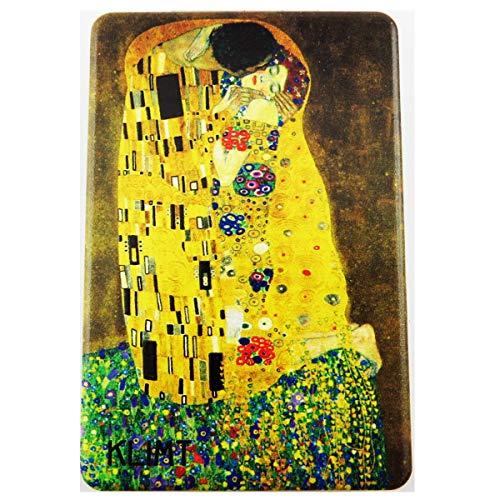 Les Trésors De Lily [R1893] - Miroir de poche 'Klimt' jaune marron (Le Baiser) - 8.5x5.5 cm