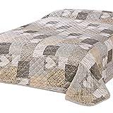 Delindo Lifestyle® Trapunta per letto matrimoniale, motivo patchwork, colore: marrone, 220x 240cm