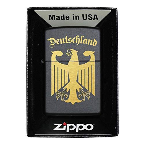 Pixelstudio Deutschland Zippo Feuerzeug mit Gravur Wappen Adler Geschenk Männer Frauen Fußball Fans Nur Zippo (unbefüllt)