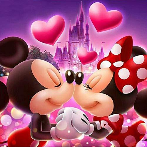 5DDiamondPainting,DIYFullDrillDiamantMalereiMalenNachZahlenKitsKreuzstichStickereiBilderKunsthandwerkfürHouseWallDekoration&EntspannungCute Mice Kiss Love,30*30cm