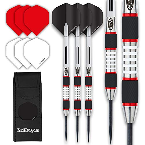 RED DRAGON Evos: 24g - Tungsten Steel Dartpfeile Set mit Flights, Schäfte and Brieftasche