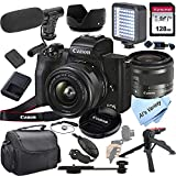 Canon EOS M50 Mark II Mirrorless Digital Camera with 15-45mm Lens + Shot-Gun Microphone + LED Always on Light+ 128GB Card, Gripod, Case, and More (18pc Video Bundle)