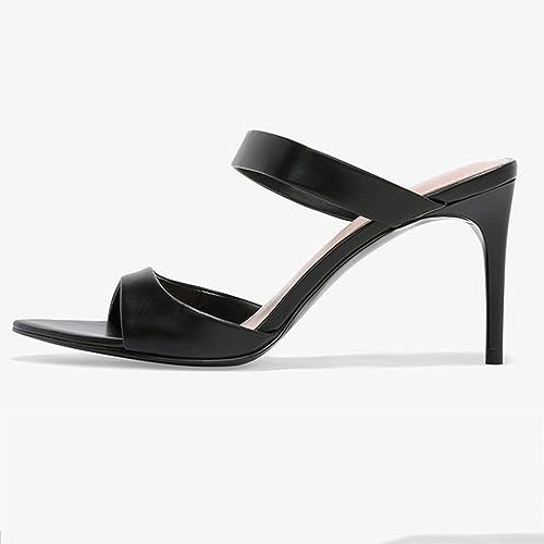 Größe Schwarz (Farbe Heels High Thin Open Toe mit Schuhe
