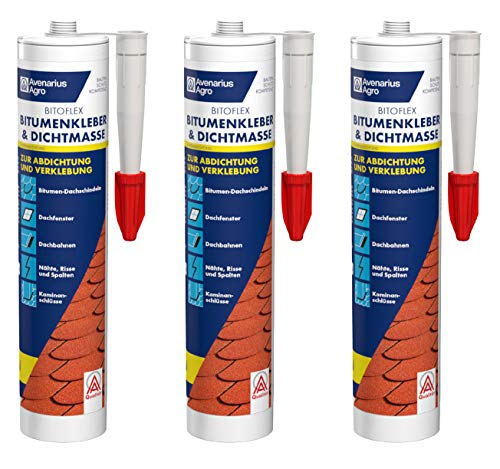 Avenarius Agro Bitoflex Bitumen-Kleber Dichtmasse 310 ml (3 Stück)