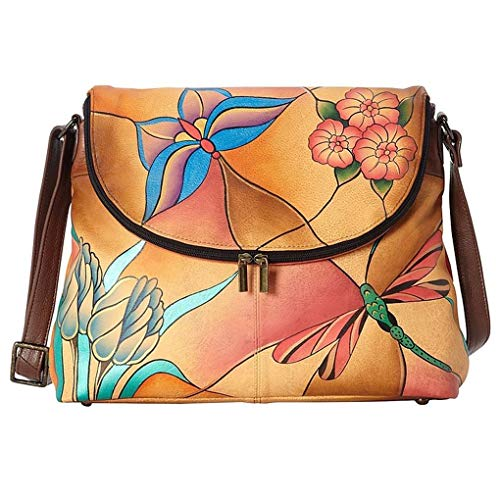 Anuschka Anna Hobo Handbag Hand Painted Design on Real Leather Purse with Purse Holder, Flap Top Jeweled Wing