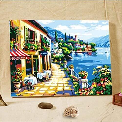 CHEJHUA Lino sustancial Lienzo al óleo de Digitaces DIY Pintura Mar Cafe.16 * 20