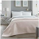 Gaveno Cavailia Luxuriöse, Gesteppte Tagesdecke, Überwurf, hochwertig, groß, für Sofa & Bett, Zickzackmuster, Champagner, Doppelgröße (150 x 200 cm)