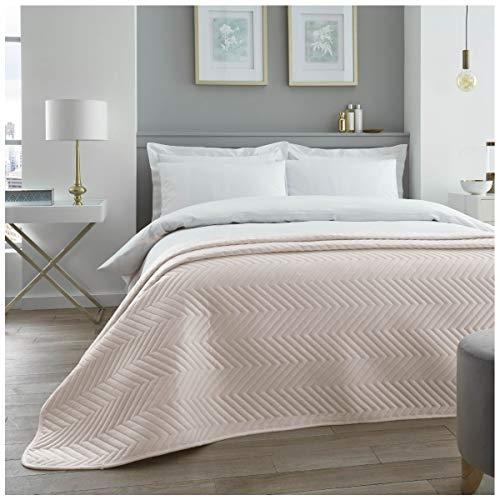 Colcha Acolchada de Terciopelo de Lujo, tamaño Grande para sofá y Cama, diseño de Zigzag chevrón, Color champán, tamaño Doble (150 x 200 cm)
