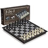 Aeromdale Ajedrez magnético de viaje 3 en 1, damas, Backgammon, 9.8 pulgadas