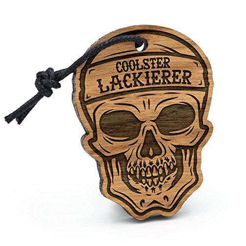 Fashionalarm Schlüsselanhänger Totenkopf Coolster Lackierer aus Holz mit Gravur | Geschenk Idee Maler Handwerk Kfz Fahrzeug Beruf Job Arbeit