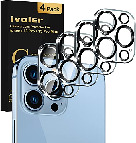 """[4 Pack]iVoler Camera Lens Protector Designed for iPhone 13 Pro Max 6.7""""/13 Pro 6.1"""" Screen Protector Tempered Glass,[Case Friendly][New..."""