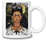 Mugs4GoodLife Self Portrait con Collar Frida Kahlo Pintura–Taza de café y té, Oficina diseño de Parte Superior Calidad de cerámica–11oz/325ml