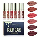 Beauty Glazed 6 Couleur Set Rouge à Lèvres Liquide Mat, Longue Tenue Waterproof Liquid Lipstick Lip Gloss Matte