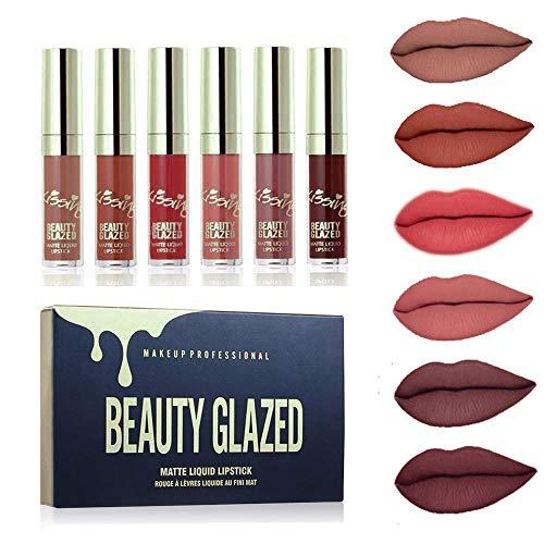 Beauty Glazed 6 Stück Matte Flüssigkeit Lippenstift, Wasserdichte Langlebige Lipgloss Kosmetik...