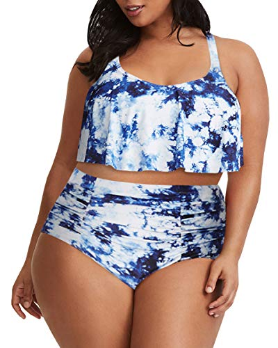 Tutorutor Womens Plus Size Swimwear Peplum Tankini Tops Tummy Control 2 Piece Floral Retro Swimsuits