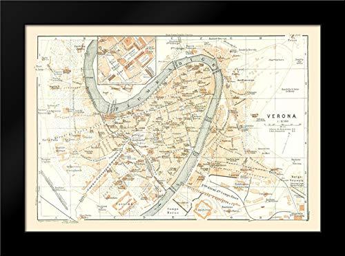 Verona Italy - Bertarelli 1914 24x18 Black Modern Framed Art Print by Bertarelli Vintage Map