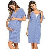 Ekouaer Nursing Nightgown Maternity Sleepwear Loose Women Feeding Nighties for Hospital S-XXL (Royal Blue S)