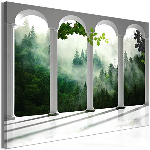 decomonkey Bilder Fensterblick 90x60 cm 1 Teilig Leinwandbilder Bild auf Leinwand Vlies Wandbild Kunstdruck Wanddeko Wand Wohnzimmer Wanddekoration Deko Wald Natur