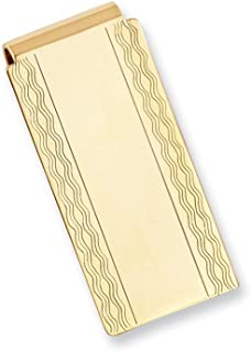 Sonia Jewels Gold-Plated with Engravable Area Florentine Slim Business Credit Card Holder Money Clip 50mm x 25mm