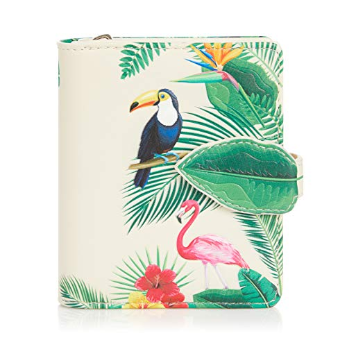 Shagwear Portemonnaie Geldbörse für junge Damen, Mädchen Geldbeutel Portmonaise Designs:, Flamingos Himmelblau/ Flamingos, SM