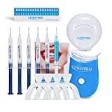 Professional Teeth Whitening Home Kit 6 Gel LED Laser Light System Safe for Sensitive Teeth, X4 Thermoforming Mouth Trays with Container Free Teeth Shade Guide