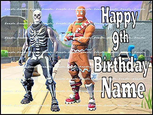 FORTNITE, MERRY MARAUDER, SKULL TROOPER: Personalized edible Birthday Cake topper premium frosting sheets