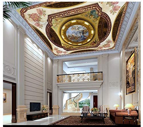 3D Hintergrundbild Wallpaper Wandbild Seidenstoff Deckengemälde Im Europäischen Rokoko-Stil Zenith-Deckengestaltung,120X80Cm,Ayzr