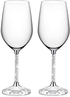 Valentines Day Birthday Anniversary or Wedding Gifts IFOLAINA Champagne Glasses Set of 2 Christmas Flutes Lead Free 8 Ounce with Clear Long Crystal Diamond Stem