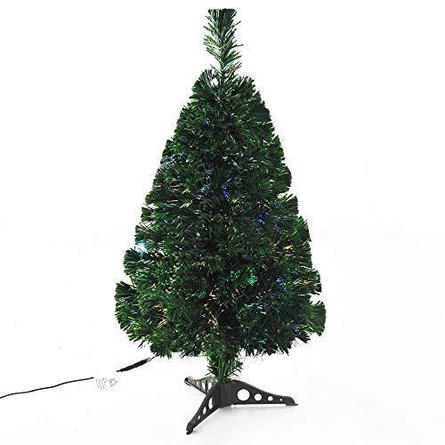 homcom Albero di Natale Artificiale Realistico PVC Fibra Ottica con 90 Rami Altezza 90cm