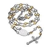 FaithHeart - Rosario Medalla Relisiosa San Benito Crucifijo Jesús Collar Colgante Acero Inoxidable Unisex Mujer Hombre Caja Regalo Cadena Forma Corazón Plateado Dorado