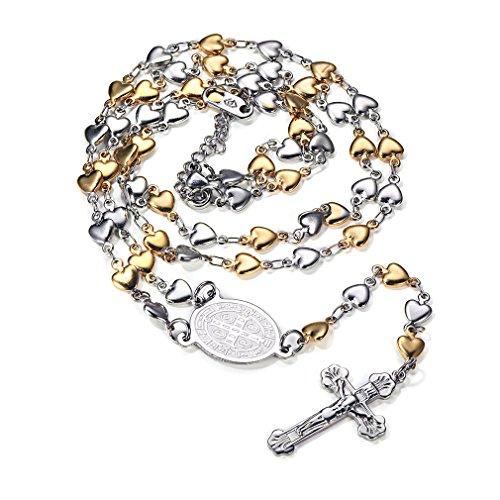 Rosario Medalla Religiosa San Benito - Crucifijo Jesús Collar Colgante Acero Inoxidable Unisex Mujer Hombre Caja Regalo Cadena Forma Corazón Plateado Dorado