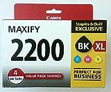 Canon PGI-2200 XL Black High Yield/PGI-2200 Color Cyan Magenta Yellow Standard Ink Cartridges (9255B005), 4 Inks Tanks