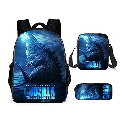Zhenwo 4 Piezas De La Mochila Establecen Los Dinosaurios Godzillas Impresión De Libros De La Escuela Bolsa De Almuerzo Bolsa con Bolsas De Hombro Y La Bolsa De College Girls,A