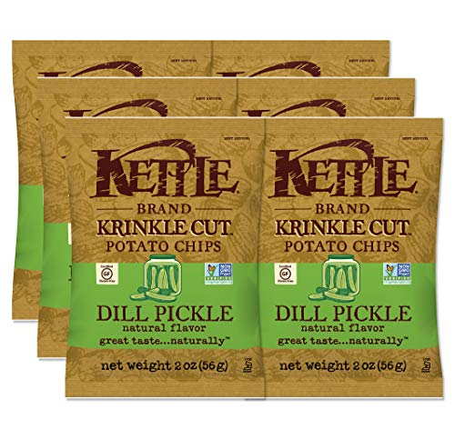 Kettle Brand Potato Chips, Krinkle Cut Dill Pickle, 2 Ounce (Pack of 6)