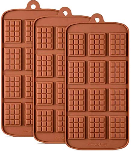 Waffle Chocolate Moulds Silicone Candy Molds, 3PCS12-Cavity Small Break Apart Chocolate Molds Non-Stick Reusable DIY Baking Molds Candy Protein & Energy Bar Moulds