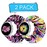 20mm Scrunchie Watch Band for Galaxy Watch Active/Active2 40mm/44mm, Floral Replacement Strap Compatible for Garmin Vivomove/Ticwatch/Pebble/Gear S2 Classic/Gear Sport (Black Purple+Colorful Flower, 20mm L)