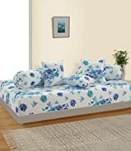 Swayam Blue and White Colour Floral Diwan Set with Bolster and Cushion Covers (Set of 6)