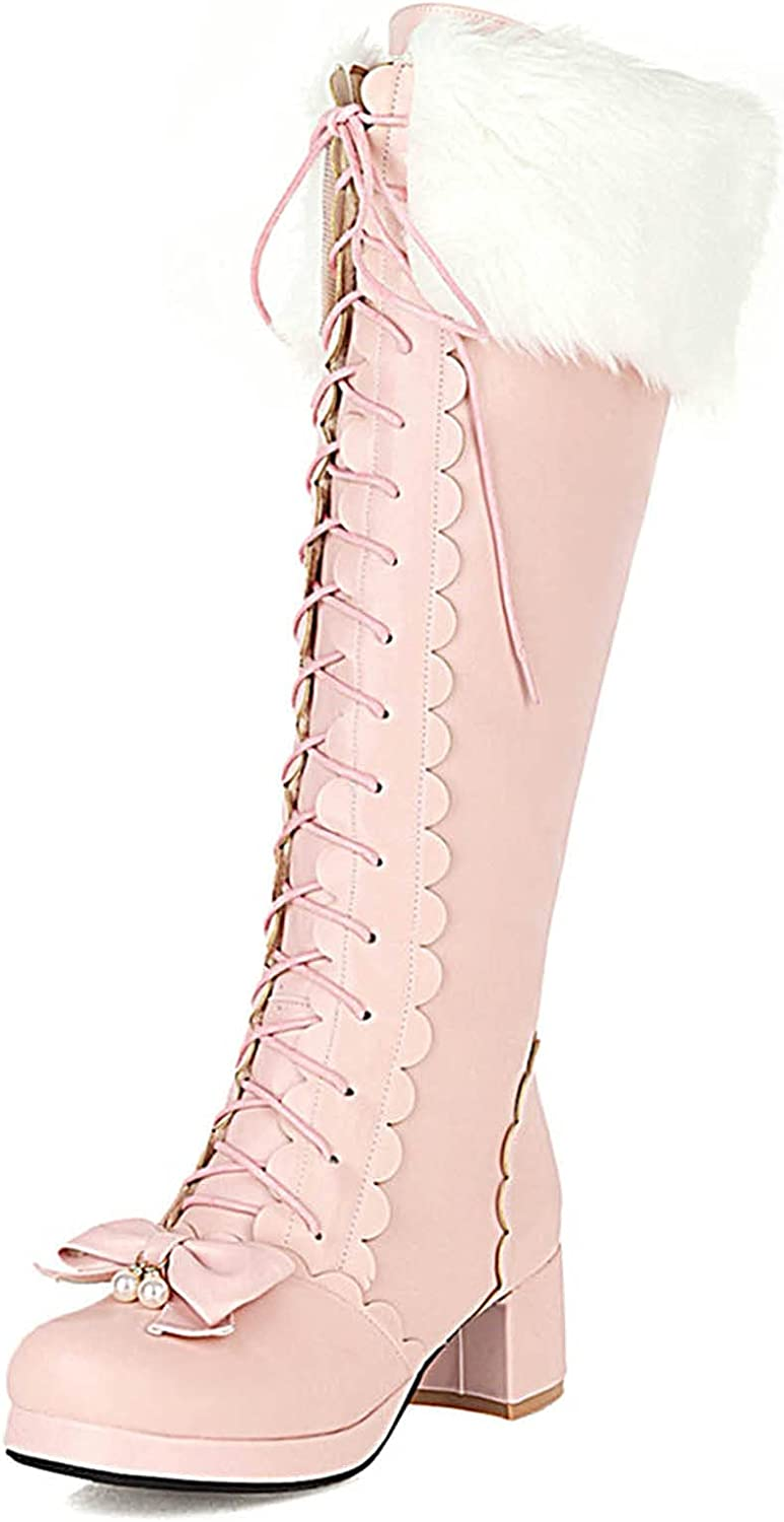Erocalli Cute Lolita Boots for Girls Womens Cosplay Round-toe Lace-up Mid Heel Knee High Boots Bowknot Plush Boot