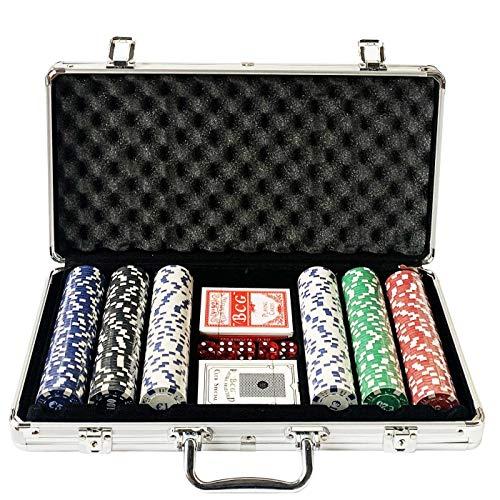 Acan Maletín con 300 fichas baraja y Dados de Poker