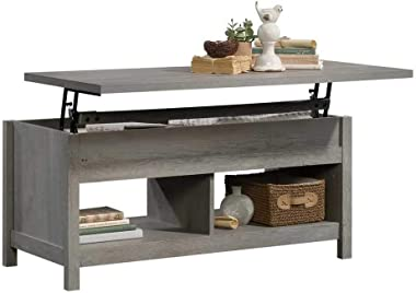 Rustic Style Lift Top Coffee Table with Hidden Storage Compartment & Shelf, Lift Tabletop Pop-Up Cocktail Table for Livin