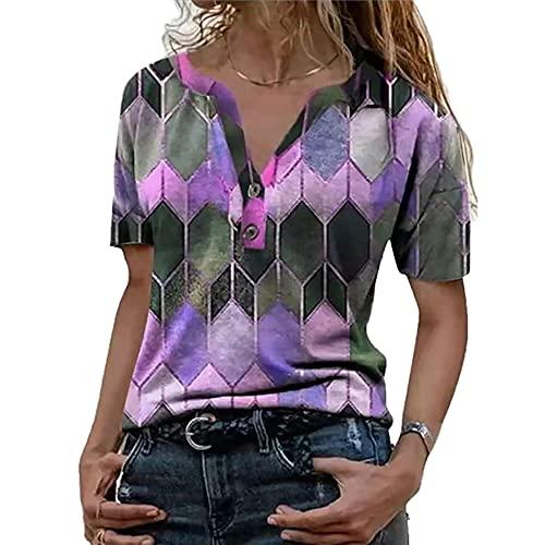 Elesoon, maglietta estiva da donna, taglie forti geometriche boho etniche con stampa a quadri a maniche corte con scollo a V, B-viola, 38
