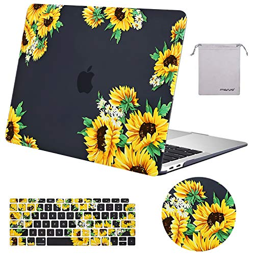 MOSISO MacBook Air 13 inch Case 2020 2019 2018 Release A2179 A1932 Retina, Plastic Pattern Hard Case&Keyboard Cover&Mouse Pad&Storage Bag Only Compatible with MacBook Air 13, Sunflower Black Base